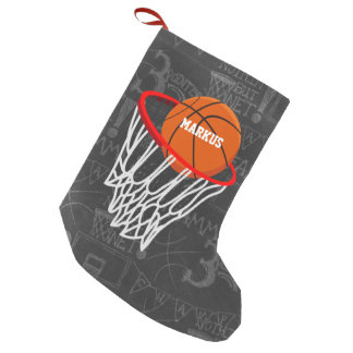 Personalized Chalkboard Basketball and Hoop Small Christmas Stocking