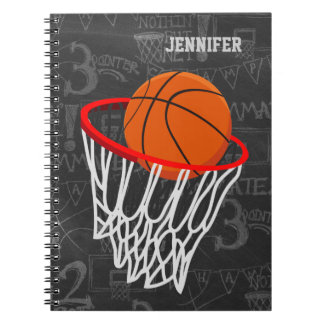 Personalized Chalkboard Basketball and Hoop Spiral Notebooks