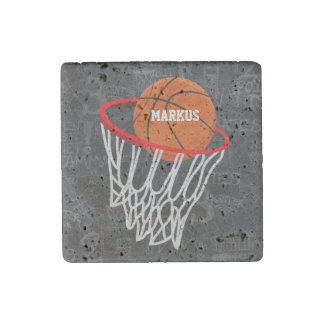 Personalized Chalkboard Basketball and Hoop Stone Magnet