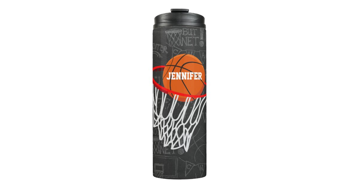 Personalized Chalkboard Basketball And Hoop Thermal
