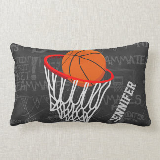Personalized Chalkboard Basketball and Hoop Throw Pillow