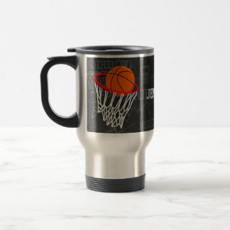 Personalized Chalkboard Basketball and Hoop Travel Mug