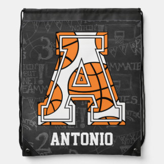 Personalized Chalkboard Basketball Letter A Cinch Bags