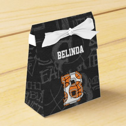Personalized Chalkboard Basketball Letter B Favor Box