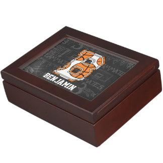 Personalized Chalkboard Basketball Letter B Memory Box