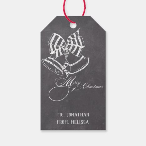 Personalized Chalkboard Christmas Bells Gift Tag