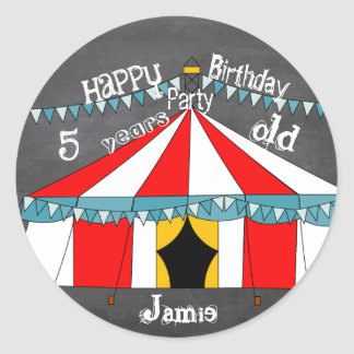 Personalized Chalkboard Circus Birthday Party Classic Round Sticker