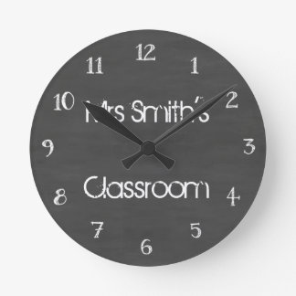 Personalized Chalkboard Classroom Round Clock