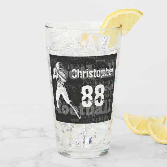 Personalized chalkboard effect football player glas