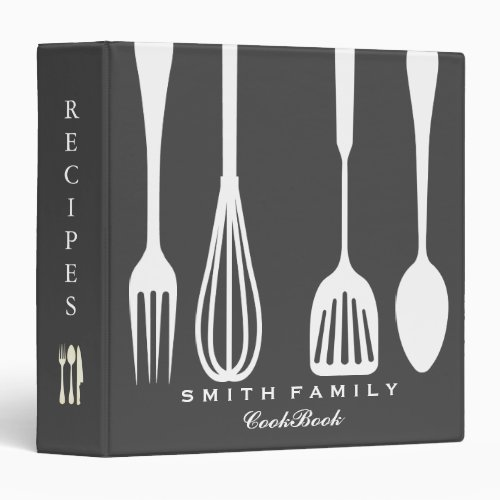 Personalized Chalkboard Family Recipe Cookbook 3 Ring Binder