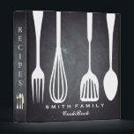 """Personalized Chalkboard Family Recipe Cookbook Binder<br><div class=""""desc"""">This is beautiful personalized blackboard chalkboard recipe book full of favorite dishes, organized into one beautiful binder. Personalized with your text on the front, and featuring an original illustration of a white fork, knife, and spoon surrounded by a curly swirly border on a burlap looking background. Kitchen tools Recipe binder...</div>"""
