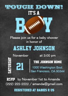 Sports baby shower invitations zazzle personalized chalkboard football theme baby shower invitation filmwisefo