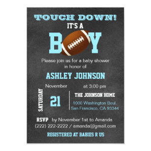 High Quality Personalized Chalkboard Football Theme Baby Shower Invitation