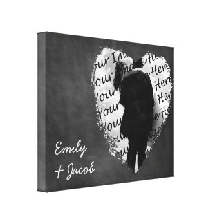 Personalized Chalkboard Heart Wrapped Canvas Print