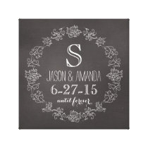 Personalized Chalkboard Monogram Wedding Date Canvas Print