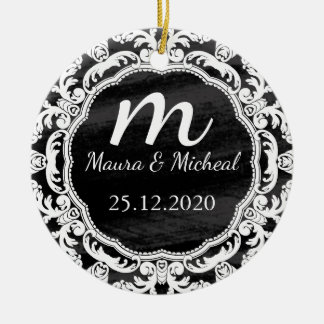 Personalized Chalkboard Monogram Wedding Date Ceramic Ornament