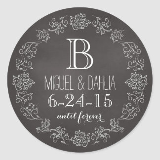 Personalized Chalkboard Monogram Wedding Date Classic Round Sticker