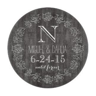 Personalized Chalkboard Monogram Wedding Date Cutting Boards
