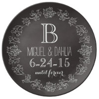 Personalized Chalkboard Monogram Wedding Date Dinner Plate