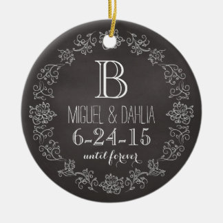 Personalized Chalkboard Monogram Wedding Date Double-Sided Ceramic Round Christmas Ornament