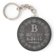 Personalized Chalkboard Monogram Wedding Date Keychain