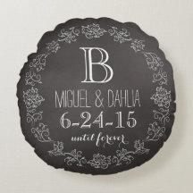 Personalized Chalkboard Monogram Wedding Date Round Pillow