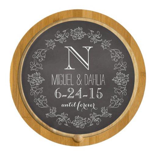 Personalized Chalkboard Monogram Wedding Date Round Cheeseboard