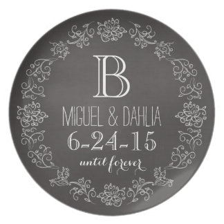 Personalized Chalkboard Monogram Wedding Date Dinner Plates