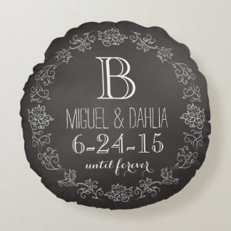 Personalized Chalkboard Monogram Wedding Date Round Pillow