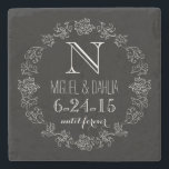 "Personalized Chalkboard Monogram Wedding Date Stone Coaster<br><div class=""desc"">Celebrate the wedding day or anniversary of your favorite bride and groom with this customizable keepsake! An elegant white scroll chalk border on a black background surrounds a monogram,  couple&#39;s names and wedding date. ""until forever"" is written in script below the wedding date. Makes a beautiful,  modern,  personalized gift.</div>"