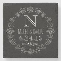 Personalized Chalkboard Monogram Wedding Date Stone Coaster