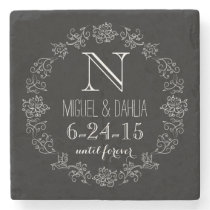 Personalized Chalkboard Monogram Wedding Date Stone Coaster