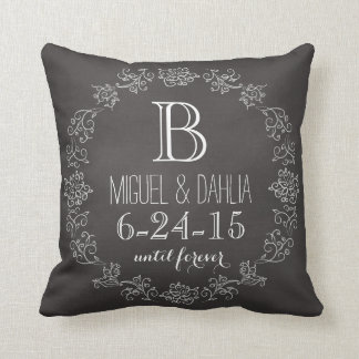 Personalized Chalkboard Monogram Wedding Date Throw Pillow