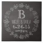Personalized Chalkboard Monogram Wedding Date Tile