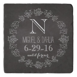 Personalized Chalkboard Monogram Wedding Date Trivet