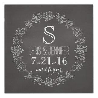 Personalized Chalkboard Monogram Wedding Date Wood Print