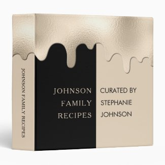 Personalized Champagne Drips Family Recipes 3 Ring Binder