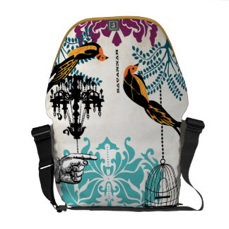 Personalized Chandelier Teal Tree Bird Damask Courier Bag