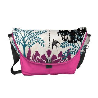 Personalized Chandelier Teal Tree Bird Damask Messenger Bag