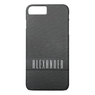 Personalized Charcoal Gray Faux Leather Phone Case