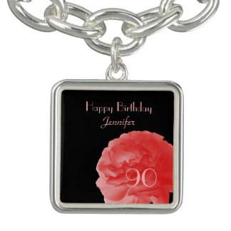 Personalized Charm Bracelet Coral Rose 90th Bday