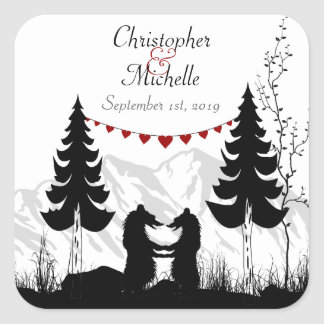 Personalized Charming Mountain Bears Wedding Square Sticker
