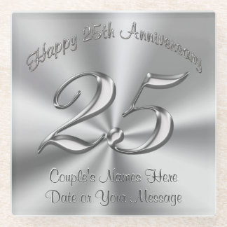 Personalized Cheap 25th Wedding Aniversary Gifts v Glass Coaster