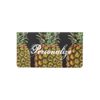 Personalized checkbook cover with pineapple print