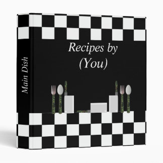Personalized Checkerboard Black and White Cookbook Binder