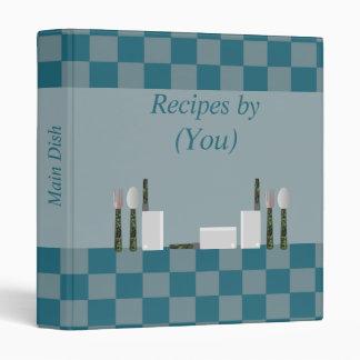 Personalized Checkerboard Blue Recipe Cookbook Binder