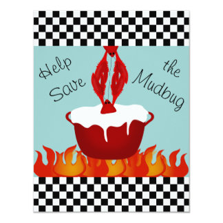 Personalized Checkerboard Crawfish Boil Party Card