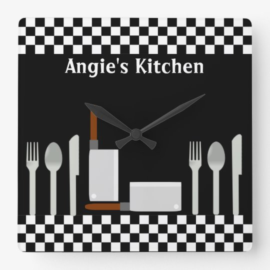 Personalized Checkerboard Kitchen Utensils Clock