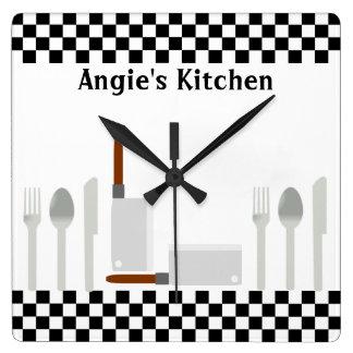 Personalized Checkerboard Kitchen Utensils Clock