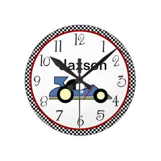 Personalized Checkerboard Race Car #2 Clock